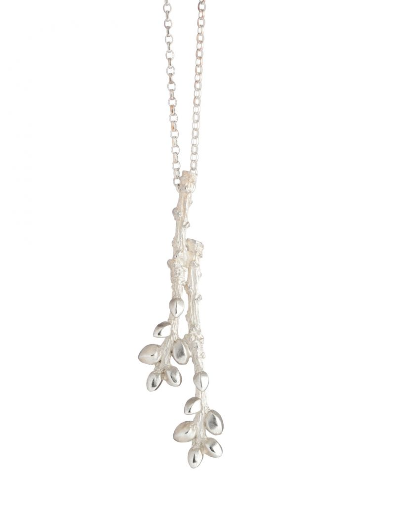 DoubleBud_Necklace The Double Bud Necklace measures approximately 6cm x 0.4cm and weighs approximately 7.4gms www.tracywinnjewellery.co.uk