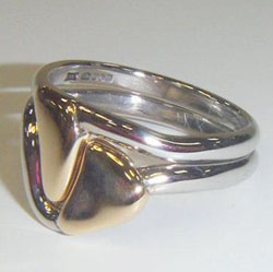 Elizabeth Booker - Two platinum and gold rings that fit together.